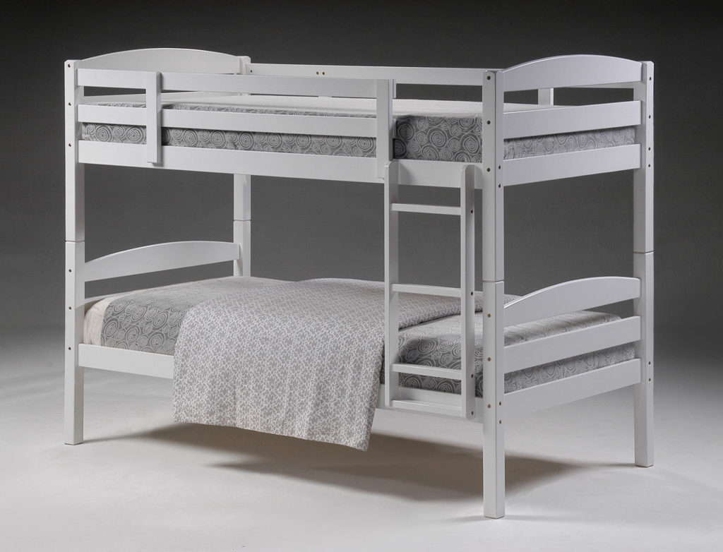 This stylish while being very practical.it is crafted from solid pine with a beautiful white painted finish.bases come with wooden slats which are durable and strong.they also detach into form 2 beds.