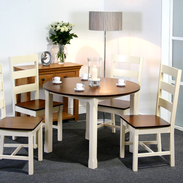 Turin dining set; available in 3 styles; Ivory/Walnut Round 107 cm diameter with 4 chairs