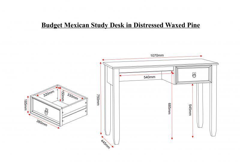 Corona Study Desk In Distressed Waxed Pine Mattressshop Ie