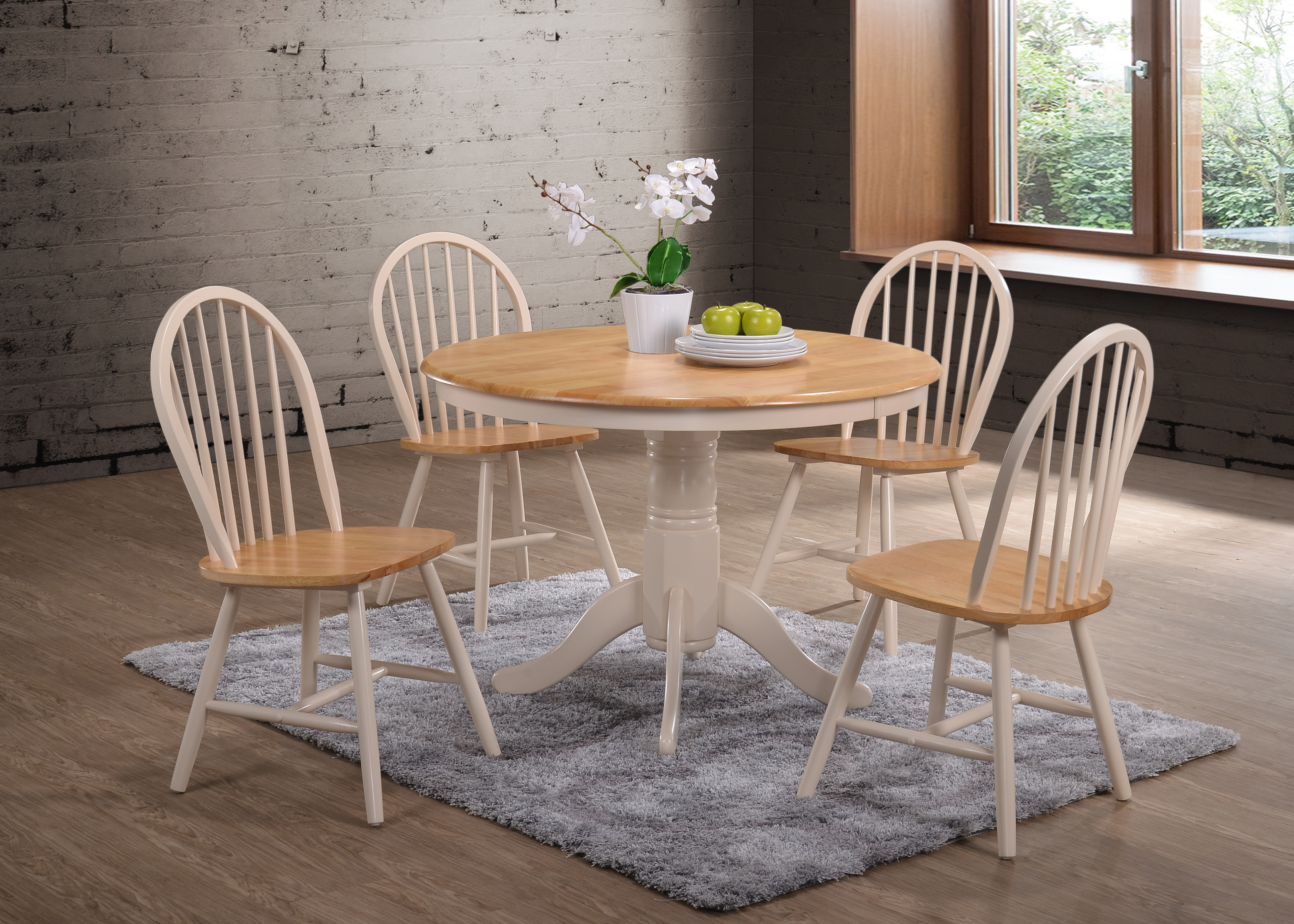 Cannes Round Table In Oak And Cream Mattressshop Ie