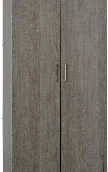 Lisbon 2 Door Wardrobe in Black Wood Grain