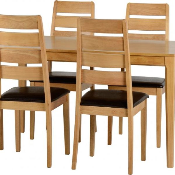 Logan Dining Set in Oak Varnish Brown