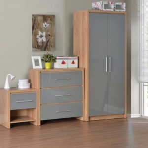 Seville Bedroom Set in Light Oak Effect Veneer/Grey High Gloss