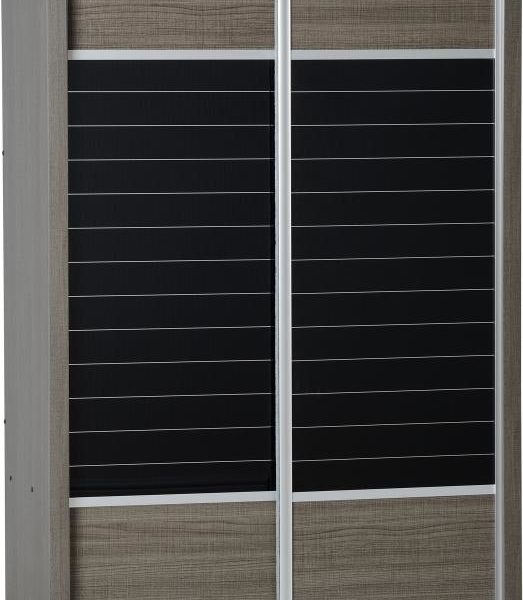 Lisbon 2 Door Sliding Wardrobe in Black Wood Grain