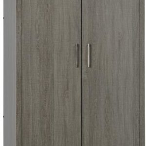 Lisbon 2 Door Wardrobe in Black Wood Grain