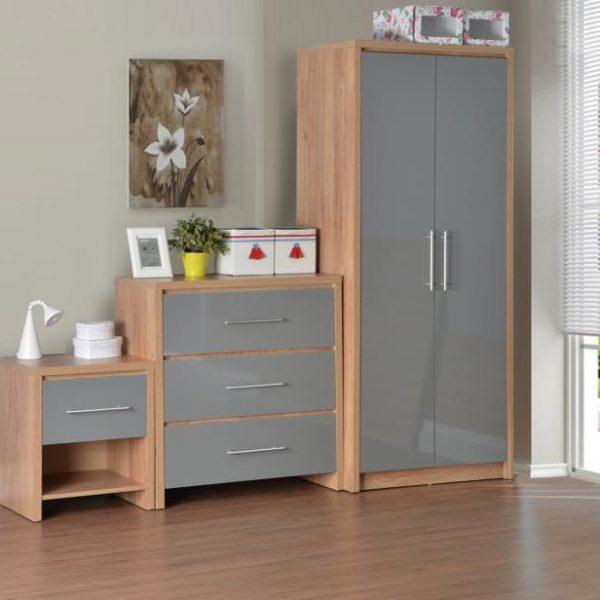 Seville Bedroom Set in Light Oak Effect Veneer/Grey High Gloss